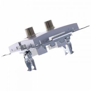 Simon 54 DASF2.01/43 - Gniazdo antenowe SAT typu F podwójne - Srebrny Mat - Podgląd zdjęcia 360st. nr 5