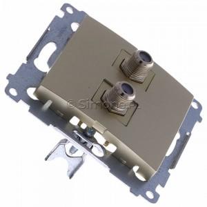 Simon 54 DASF2.01/44 - Gniazdo antenowe SAT typu F podwójne - Złoty Mat - Podgląd zdjęcia 360st. nr 2