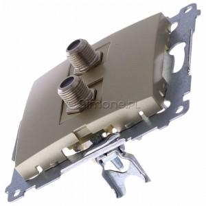 Simon 54 DASF2.01/44 - Gniazdo antenowe SAT typu F podwójne - Złoty Mat - Podgląd zdjęcia 360st. nr 6