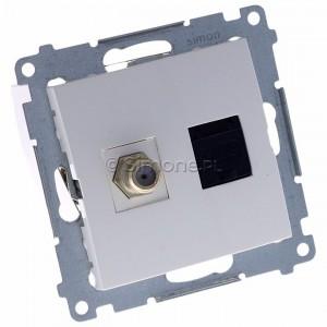 Simon 54 DASFRJ45.01/11 - Gniazdo antenowe SAT pojedyncze + Gniazdo komputerowe kat.6 - Biały - Podgląd zdjęcia 360st. nr 1