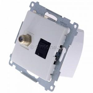 Simon 54 DASFRJ45.01/11 - Gniazdo antenowe SAT pojedyncze + Gniazdo komputerowe kat.6 - Biały - Podgląd zdjęcia 360st. nr 7