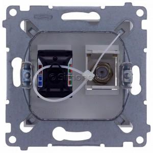 Simon 54 DASFRJ45.01/11 - Gniazdo antenowe SAT pojedyncze + Gniazdo komputerowe kat.6 - Biały - Podgląd zdjęcia 360st. nr 9