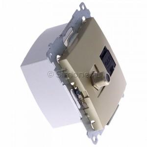 Simon 54 DASFRJ45.01/44 - Gniazdo antenowe SAT pojedyncze + Gniazdo komputerowe kat.6 - Złoty Mat - Podgląd zdjęcia 360st. nr 2