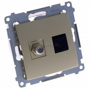 Simon 54 DASFRJ45.01/44 - Gniazdo antenowe SAT pojedyncze + Gniazdo komputerowe kat.6 - Złoty Mat - Podgląd zdjęcia 360st. nr 1