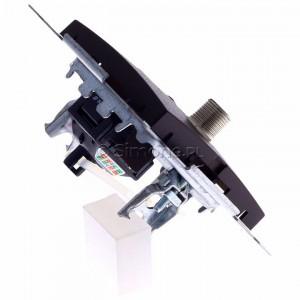 Simon 54 DASFRJ45.01/46 - Gniazdo antenowe SAT pojedyncze + Gniazdo komputerowe kat.6 - Brąz Mat - Podgląd zdjęcia 360st. nr 3