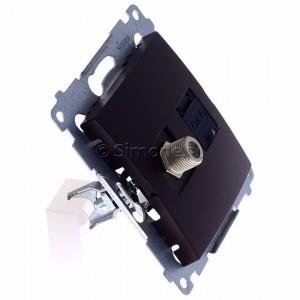 Simon 54 DASFRJ45.01/46 - Gniazdo antenowe SAT pojedyncze + Gniazdo komputerowe kat.6 - Brąz Mat - Podgląd zdjęcia 360st. nr 2