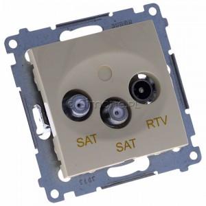 Simon 54 DASK2.01/41 - Gniazdo antenowe RTV-SAT-SAT satelitarne podwójne - Kremowy - Podgląd zdjęcia 360st. nr 1