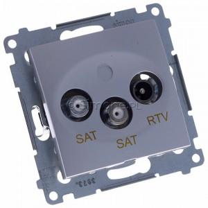 Simon 54 DASK2.01/43 - Gniazdo antenowe RTV-SAT-SAT satelitarne podwójne - Srebrny Mat - Podgląd zdjęcia 360st. nr 1