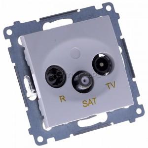 Simon 54 DASP.01/11 - Gniazdo antenowe R-TV-SAT przelotowe - Biały - Podgląd zdjęcia 360st. nr 1