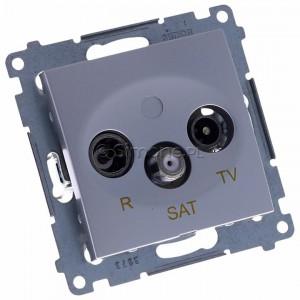 Simon 54 DASP.01/43 - Gniazdo antenowe R-TV-SAT przelotowe - Srebrny Mat - Podgląd zdjęcia 360st. nr 1