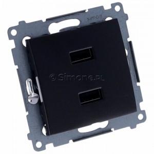 Simon 54 DC2USB.01/48 - Podwójna ładowarka USB - Antracyt - Podgląd zdjęcia 360st. nr 1