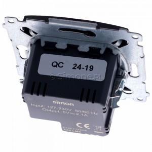 Simon 54 DC2USB.01/48 - Podwójna ładowarka USB - Antracyt - Podgląd zdjęcia 360st. nr 4