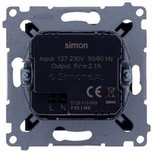 Simon 54 DC2USB.01/48 - Podwójna ładowarka USB - Antracyt - Podgląd zdjęcia 360st. nr 9