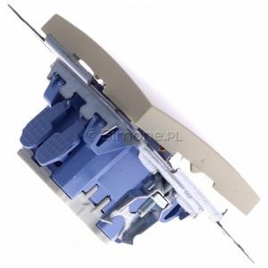 Simon 54 DD1L.01/41 - Przycisk dzwonkowy z podświetleniem typu LED w kolorze niebieskim 10A - Kremowy - Podgląd zdjęcia 360st. nr 3