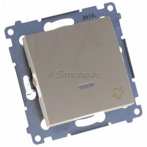 Simon 54 DD1L.01/41 - Przycisk dzwonkowy z podświetleniem typu LED w kolorze niebieskim 10A - Kremowy - Podgląd zdjęcia 360st. nr 1