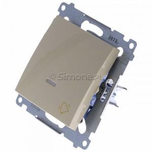 Simon 54 DD1L.01/41 - Przycisk dzwonkowy z podświetleniem typu LED w kolorze niebieskim 10A - Kremowy - Podgląd zdjęcia 360st. nr 7