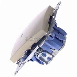 Simon 54 DD1L.01/41 - Przycisk dzwonkowy z podświetleniem typu LED w kolorze niebieskim 10A - Kremowy - Podgląd zdjęcia 360st. nr 6