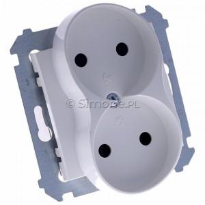 Simon 54 DG2MZ.01/11 - Gniazdo podwójne bez bolca uziemiającego z przesłoną torów prądowych - Biały - Podgląd zdjęcia 360st. nr 1