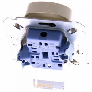 Simon 54 DG2MZ.01/41 - Gniazdo podwójne bez bolca uziemiającego z przesłoną torów prądowych - Kremowy - Podgląd zdjęcia 360st. nr 4