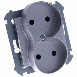 Simon 54 DG2MZ.01/43 - Gniazdo podwójne bez bolca uziemiającego z przesłoną torów prądowych - Srebrny Mat - Podgląd zdjęcia 360st. nr 1