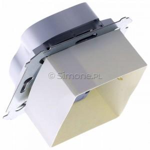 Simon 54 DG2MZ.01/43 - Gniazdo podwójne bez bolca uziemiającego z przesłoną torów prądowych - Srebrny Mat - Podgląd zdjęcia 360st. nr 5