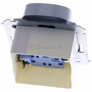 Simon 54 DG2MZ.01/43 - Gniazdo podwójne bez bolca uziemiającego z przesłoną torów prądowych - Srebrny Mat - Podgląd zdjęcia 360st. nr 4
