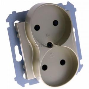 Simon 54 DG2MZ.01/44 - Gniazdo podwójne bez bolca uziemiającego z przesłoną torów prądowych - Złoty Mat - Podgląd zdjęcia 360st. nr 1