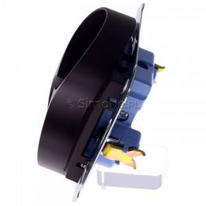Simon 54 DG2MZ.01/46 - Gniazdo podwójne bez bolca uziemiającego z przesłoną torów prądowych - Brąz Mat - Podgląd zdjęcia 360st. nr 6