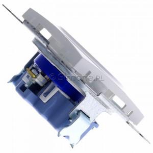Simon 54 DGD1.01/11 - Gniazdo pojedyncze z bolcem uziemiającym typu DATA - Biały - Podgląd zdjęcia 360st. nr 3