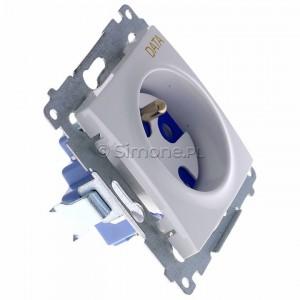 Simon 54 DGD1.01/11 - Gniazdo pojedyncze z bolcem uziemiającym typu DATA - Biały - Podgląd zdjęcia 360st. nr 2