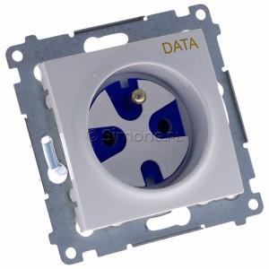 Simon 54 DGD1.01/11 - Gniazdo pojedyncze z bolcem uziemiającym typu DATA - Biały - Podgląd zdjęcia 360st. nr 1