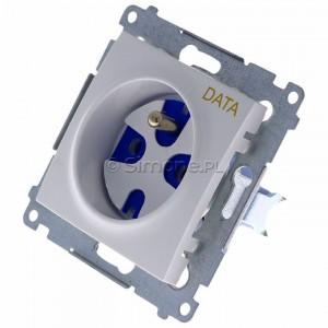 Simon 54 DGD1.01/11 - Gniazdo pojedyncze z bolcem uziemiającym typu DATA - Biały - Podgląd zdjęcia 360st. nr 7