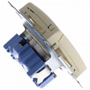 Simon 54 DGZ1BZ.01/41 - Gniazdo hermetyczne z bolcem uziemiającym, przesłoną torów prądowych i klapką w kolorze wyrobu - Kremowy - Podgląd zdjęcia 360st. nr 3