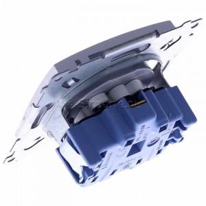 Simon 54 DGZ1CZ.01/43 - Gniazdo pojedyncze z bolcem uziemiającym i przesłoną torów prądowych - Srebrny Mat - Podgląd zdjęcia 360st. nr 5