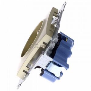 Simon 54 DGZ1CZ.01/44 - Gniazdo pojedyncze z bolcem uziemiającym i przesłoną torów prądowych - Złoty Mat - Podgląd zdjęcia 360st. nr 6