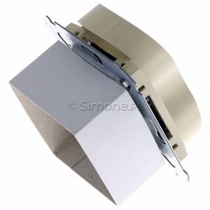 Simon 54 DGZ2MZ.01/41 - Gniazdo podwójne z bolcem uziemiającym i przesłoną torów prądowych - Kremowy - Podgląd zdjęcia 360st. nr 3