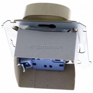 Simon 54 DGZ2MZ.01/41 - Gniazdo podwójne z bolcem uziemiającym i przesłoną torów prądowych - Kremowy - Podgląd zdjęcia 360st. nr 4