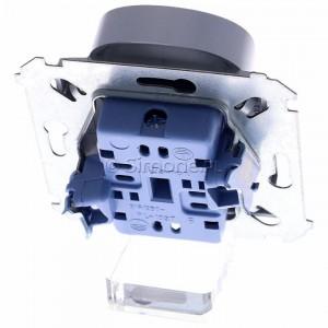 Simon 54 DGZ2MZ.01/43 - Gniazdo podwójne z bolcem uziemiającym i przesłoną torów prądowych - Srebrny Mat - Podgląd zdjęcia 360st. nr 4