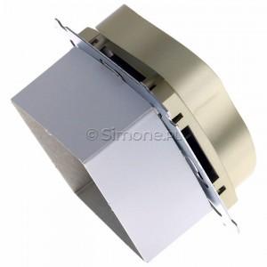 Simon 54 DGZ2MZ.01/44 - Gniazdo podwójne z bolcem uziemiającym i przesłoną torów prądowych - Złoty Mat - Podgląd zdjęcia 360st. nr 3
