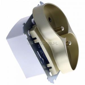 Simon 54 DGZ2MZ.01/44 - Gniazdo podwójne z bolcem uziemiającym i przesłoną torów prądowych - Złoty Mat - Podgląd zdjęcia 360st. nr 2