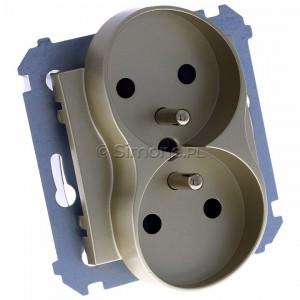 Simon 54 DGZ2MZ.01/44 - Gniazdo podwójne z bolcem uziemiającym i przesłoną torów prądowych - Złoty Mat - Podgląd zdjęcia 360st. nr 1