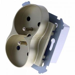 Simon 54 DGZ2MZ.01/44 - Gniazdo podwójne z bolcem uziemiającym i przesłoną torów prądowych - Złoty Mat - Podgląd zdjęcia 360st. nr 7