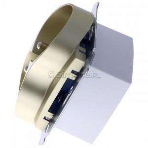 Simon 54 DGZ2MZ.01/44 - Gniazdo podwójne z bolcem uziemiającym i przesłoną torów prądowych - Złoty Mat - Podgląd zdjęcia 360st. nr 6