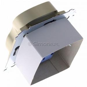 Simon 54 DGZ2MZ.01/44 - Gniazdo podwójne z bolcem uziemiającym i przesłoną torów prądowych - Złoty Mat - Podgląd zdjęcia 360st. nr 5