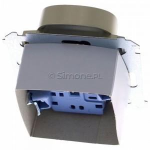 Simon 54 DGZ2MZ.01/44 - Gniazdo podwójne z bolcem uziemiającym i przesłoną torów prądowych - Złoty Mat - Podgląd zdjęcia 360st. nr 4