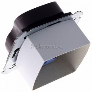 Simon 54 DGZ2MZ.01/46 - Gniazdo podwójne z bolcem uziemiającym i przesłoną torów prądowych - Brąz Mat - Podgląd zdjęcia 360st. nr 5