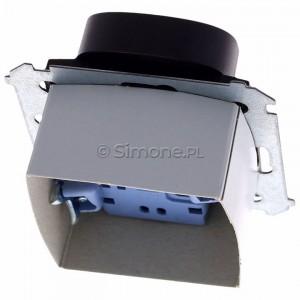 Simon 54 DGZ2MZ.01/46 - Gniazdo podwójne z bolcem uziemiającym i przesłoną torów prądowych - Brąz Mat - Podgląd zdjęcia 360st. nr 4