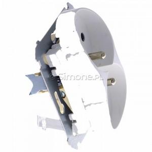 Simon 54 DGZ2MZN.01/11 - Gniazdo podwójne z bolcem uziemiającym i przesłoną torów prądowych do ramek Nature - Biały - Podgląd zdjęcia 360st. nr 2