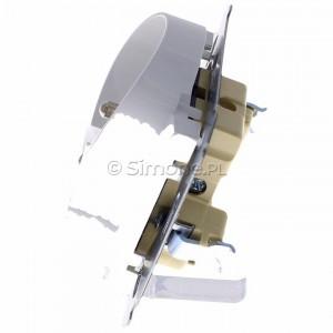Simon 54 DGZ2MZN.01/11 - Gniazdo podwójne z bolcem uziemiającym i przesłoną torów prądowych do ramek Nature - Biały - Podgląd zdjęcia 360st. nr 6