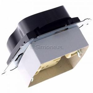 Simon 54 DGZ2MZN.01/48 - Gniazdo podwójne z bolcem uziemiającym i przesłoną torów prądowych do ramek Nature - Antracyt - Podgląd zdjęcia 360st. nr 5